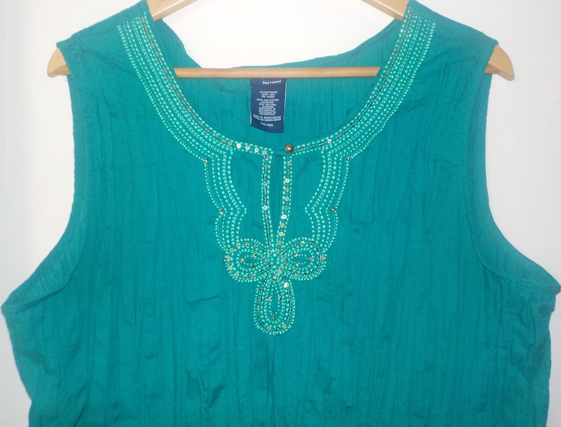 Vintage Basic Editions Sleeveless Bohemian Crinkle Embroidered Beaded Sequins Green Top XXL