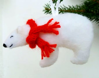 Personalized Polar Bear Ornament with scarf Needle felted white bear Cute arctic animal christmas ornament Christmas 2021 gift