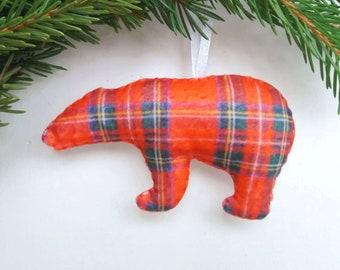 Plaid bear ornament Сustom ornament Felt stuffed bear personalized Ornament with name Felt Christmas tree ornaments