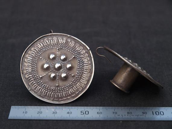 Vintage Silver Indian Ear Plugs, Antique Indian Je