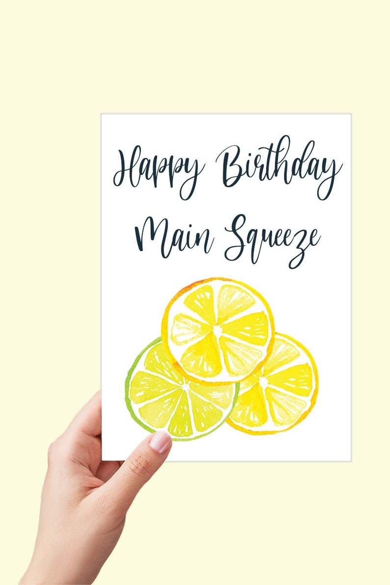 Boyfriend Birthday Card Happy Birthday Main Squeeze Instant Download Printable Card Lemon and Lime Birthday Card Citrus Card