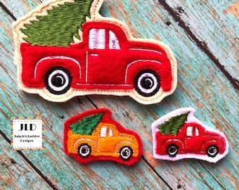 Truck with Tree Felties Red Vinyl UNCUT Set of 4