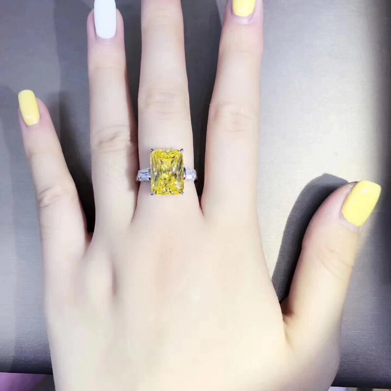 wedding ring promise ring gift for her 6ct yellow sapphire luxury radiant cut engagement ring anniversary ring