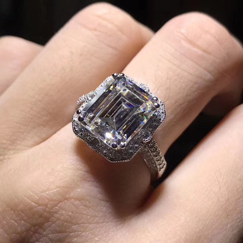 anniversary ring wedding ring gift for her 5ct white sapphire luxury emerald cut engagement ring promise ring