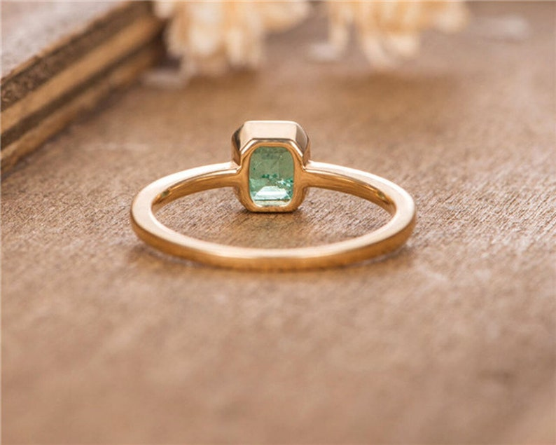 Solid 14k Gold Wedding Ring Emerald Engagement Ring Anniversary Rings Wedding Rings