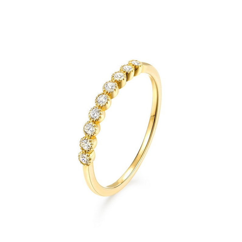 anniversary ring white sapphire ring gemstone ring 14k gold ring Solid 14k gold round cut  white sapphire