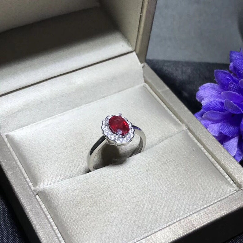 promise ring gift for her wedding ring anniversary ring 100/% Natural Ruby 5*7mm engagement ring
