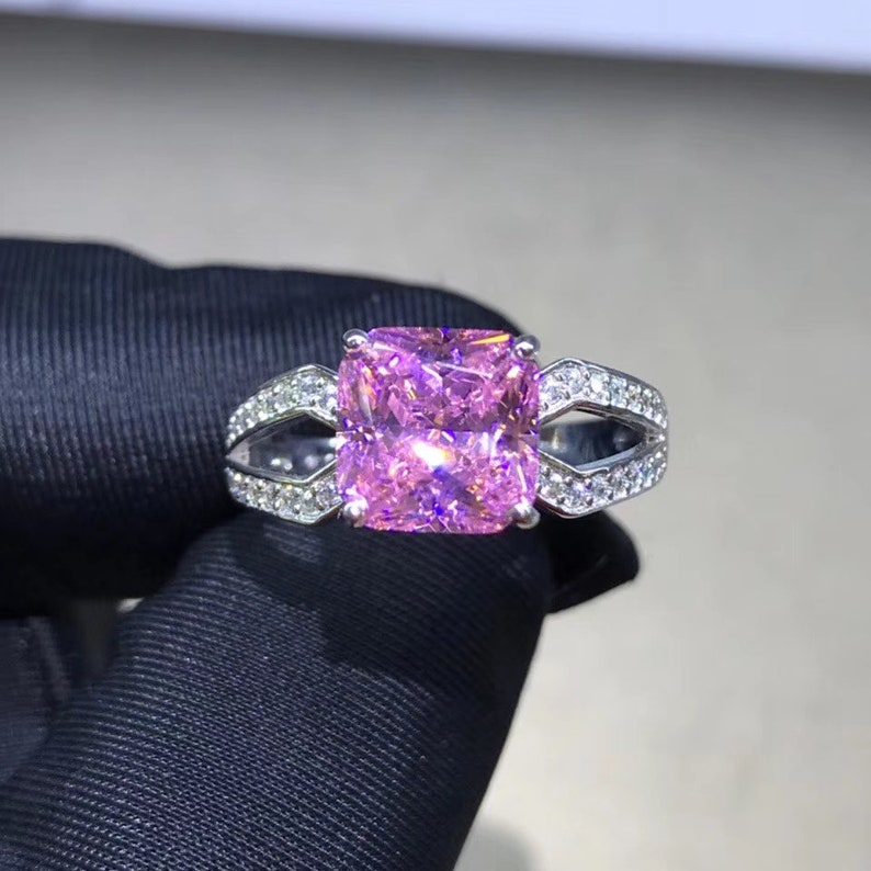 2ct pink sapphire luxury cushion cut engagement ring promise ring wedding ring anniversary ring gift for her