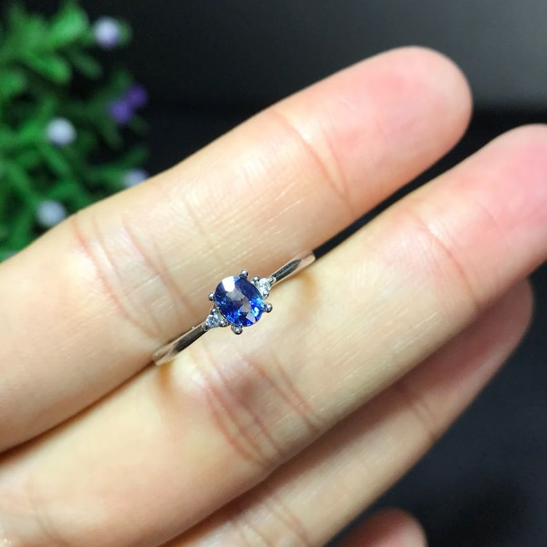 promise ring wedding ring 100/% Natural Sapphire 4*5mm engagement ring gift for her anniversary ring