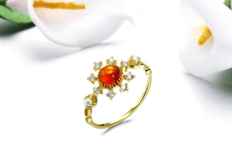 garnet ring garnet gold ring 9k gold vintage round cut  natural garnet ring gemstone ring anniversary ring