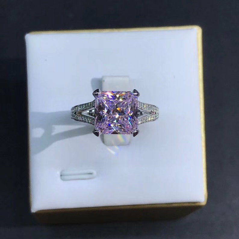 wedding ring 2ct pink sapphire luxury princess cut engagement ring anniversary ring promise ring gift for her