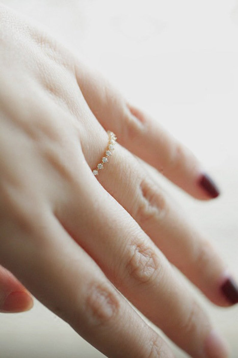 Gold Minimalist Ring Vintage Ring Thin Ring Dainty Ring Stacking Ring Simple Cubic Zirconia Ring Gift for Her Sterling Silver Ring