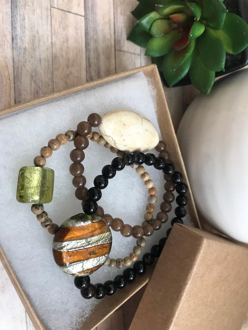 black agate beads Stretch bracelets statment focals tigers eye jasper