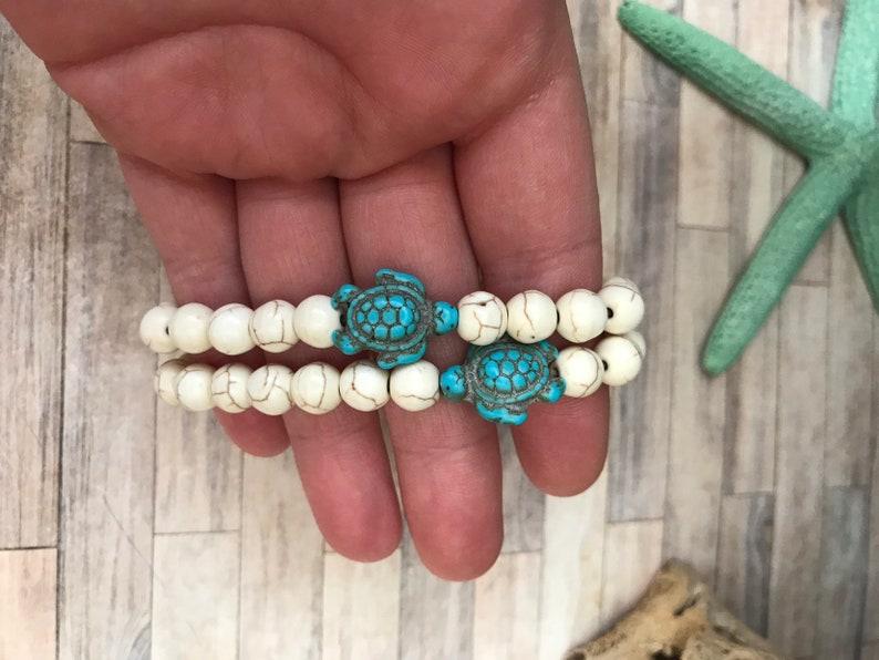 howlite gemstone stretch bracelet turquoise sea turtle stretch bracelet turtle teal