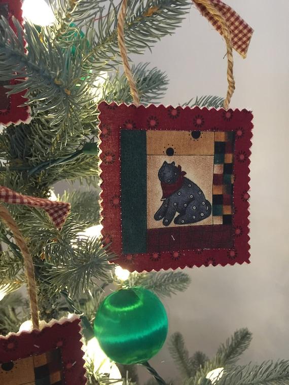 Set Of 11 Americana Fabric Cat Ornaments Christmas Ornaments Etsy