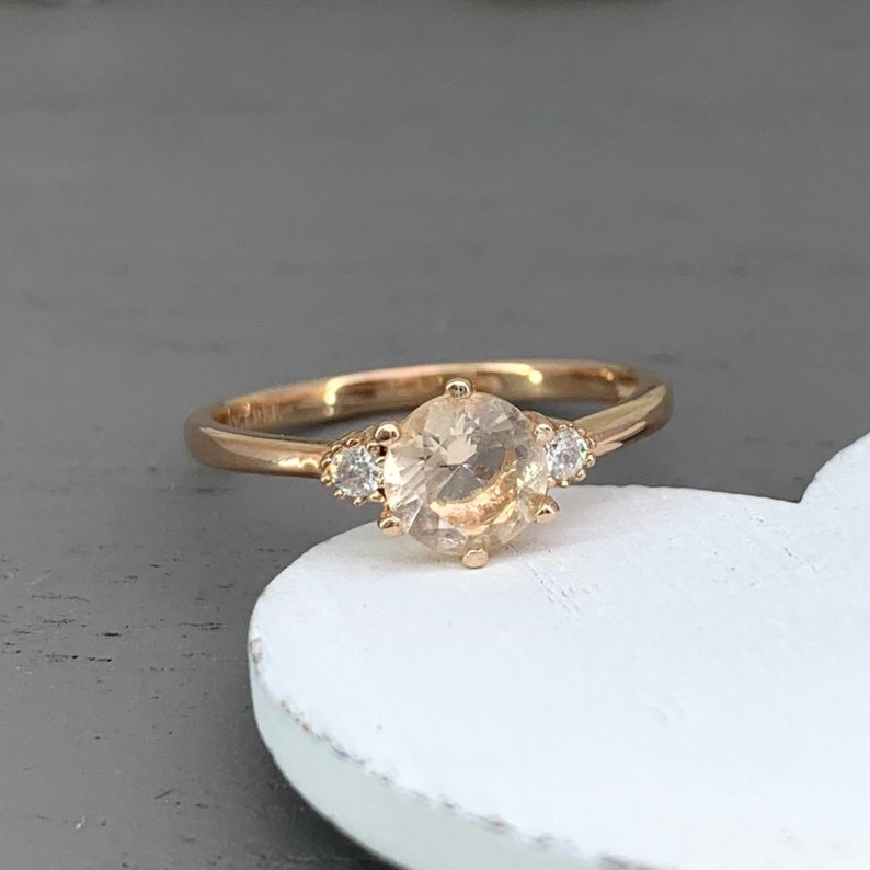 Three Stone Solid 14K Rose Gold Round Peach Morganite Simulated Diamond Engagement Ring Past present Future Dainty Promise Ring