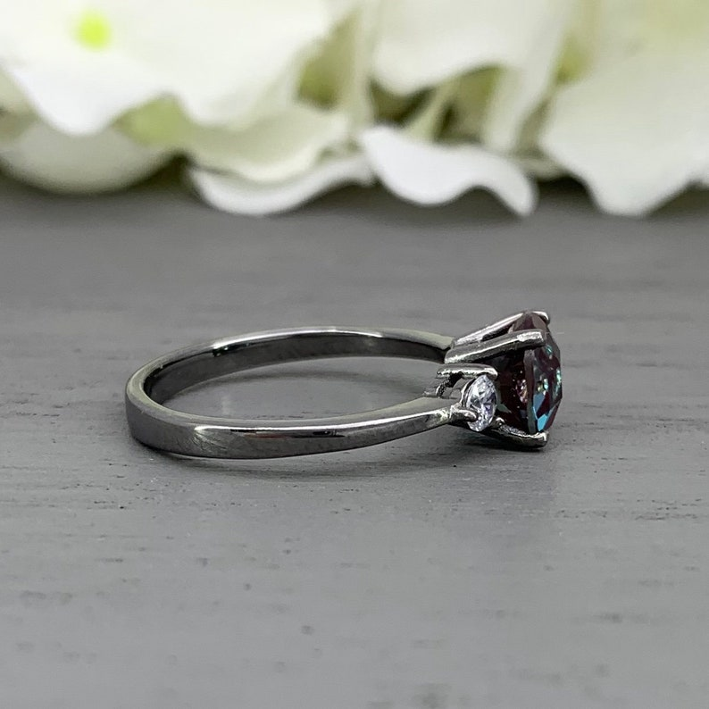 Round Alexandrite Black Rhodium Simulated Diamond Three Stone Engagement Birthstone Ring Past present Future Sterling Silver Ring