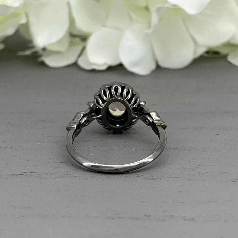 Black Rhodium Oval Peach Morganite Sterling Silver Art Deco Simulated Diamond Engagement Ring Vintage Design Halo Wedding Ring