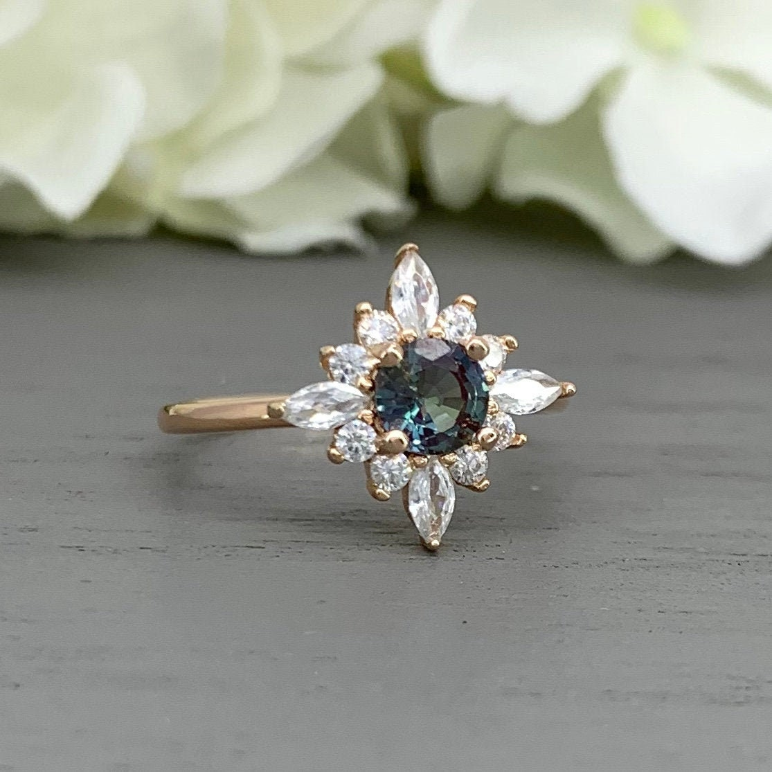 Simulated Color Change Alexandrite White Gold Plated 925 Sterling Silver Flower Ring