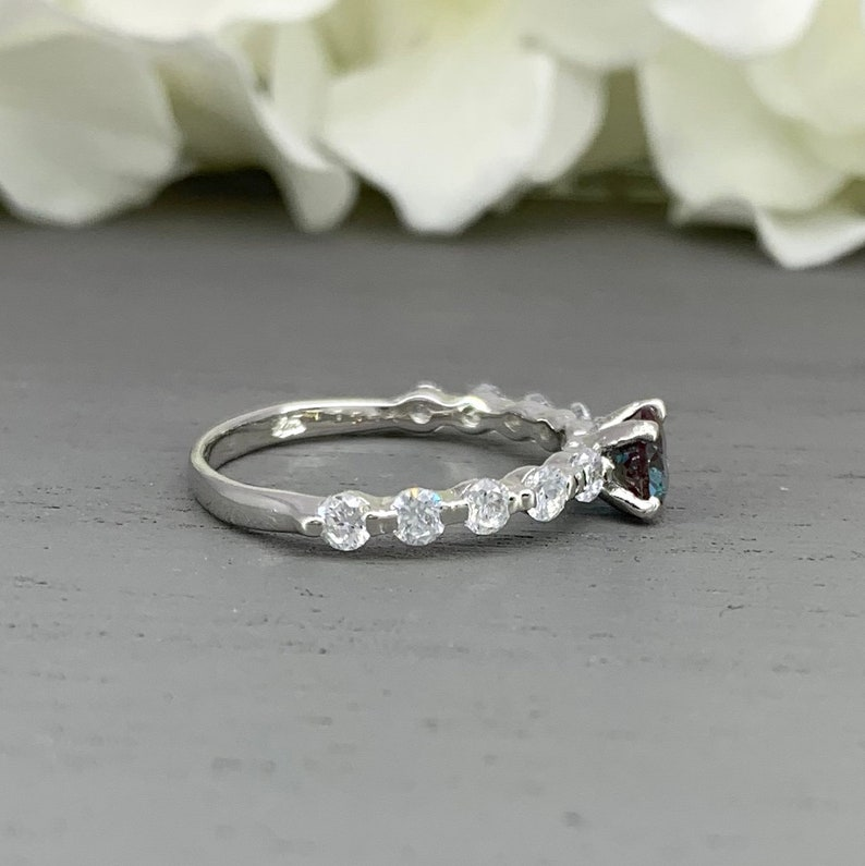Round Alexandrite Simulated Diamond Engagement Ring Dainty Sterling Silver Tension Set Simulated Diamond Promise Wedding Ring