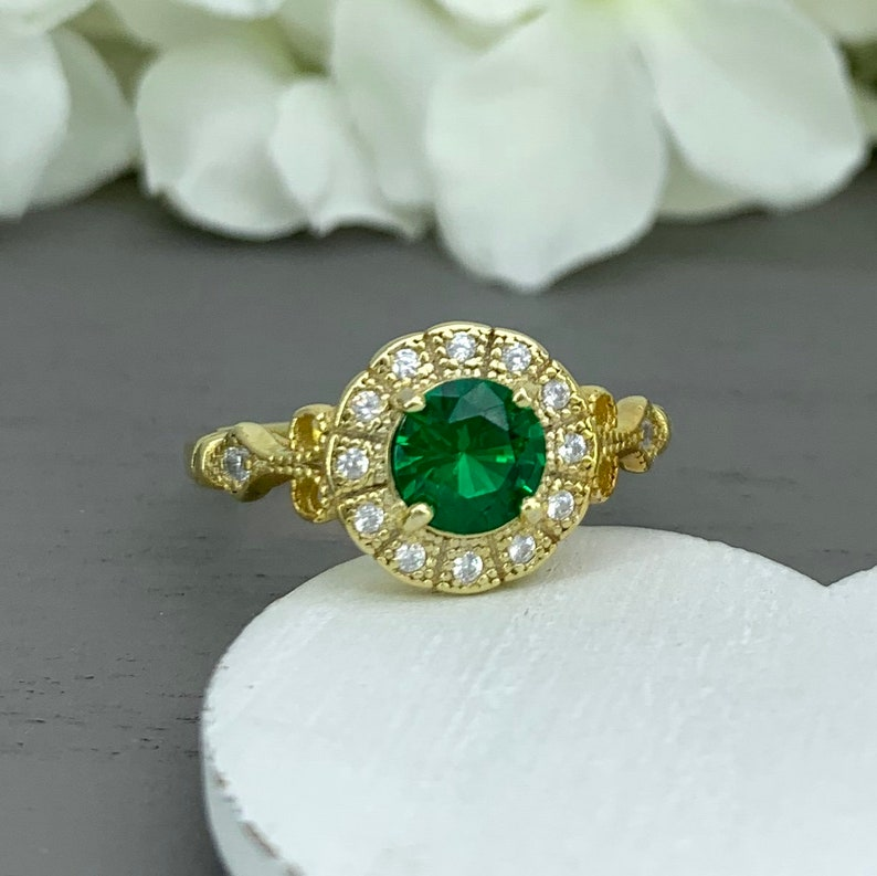 May Birthstone Vintage Design Sterling Silver Halo Wedding Ring Art Deco Yellow Gold Round Lab Emerald Simulated Diamond Engagement Ring