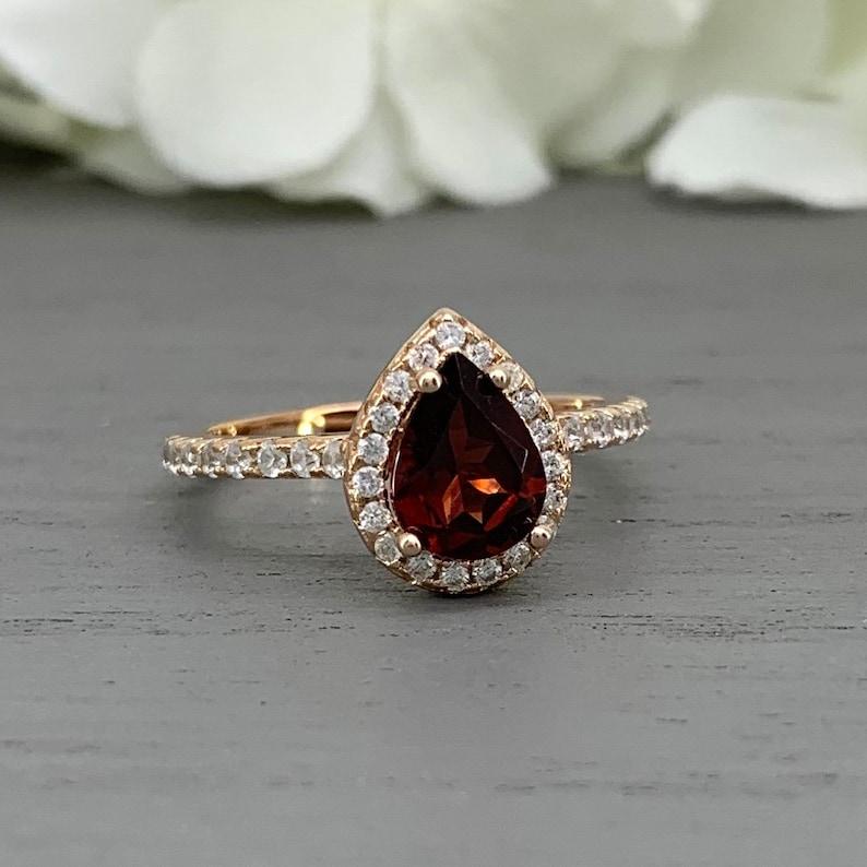 Rose Gold Pear Shape 1.40ct Garnet Simulated Diamond Art Deco Engagement Ring Teardrop Garnet Halo Sterling Silver Wedding Promise Ring