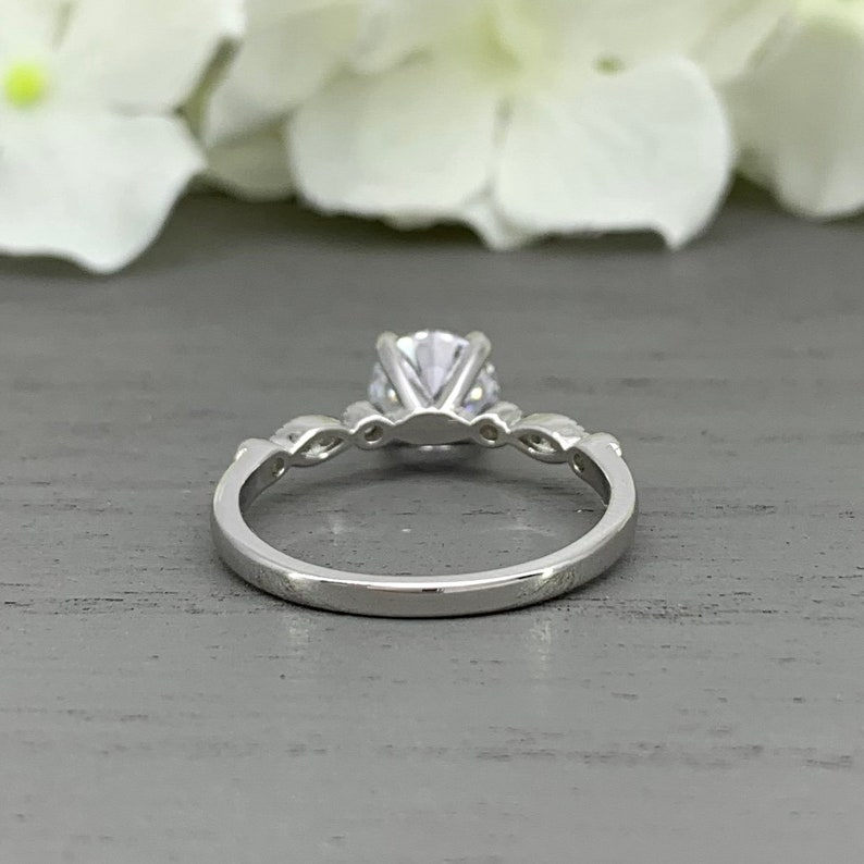 Solitaire 4 Prong Vintage Wedding Ring Solid 10K Or 14K White Gold Art Deco Round 1.28Cts Simulated Diamond Engagement Ring