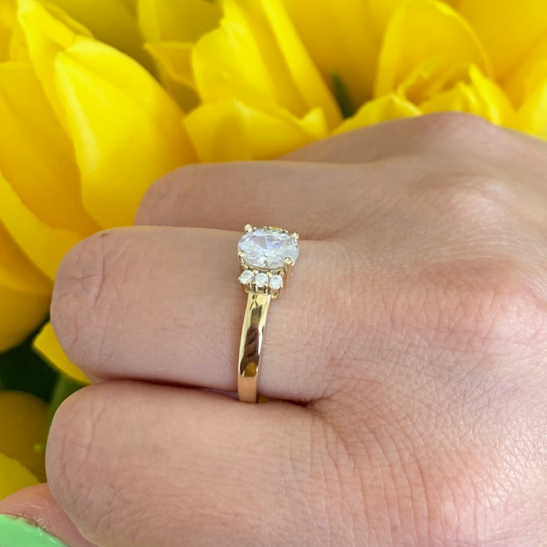 10K Or 14K Solid Yellow Gold Oval Simulated Diamond Engagement Ring Round Simulated Diamond Art Deco Promise Wedding Ring