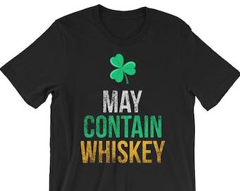 1d143446f1df7 May Contain Whiskey Irish Four Leaf Clover TShirt
