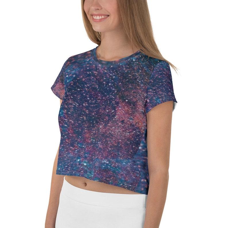Women Crop t-shirt Galaxy Pattern All-Over Print Crop Tee Women Crop Top
