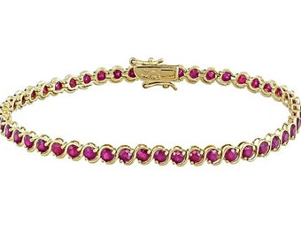 d91914182a8 Burmese Ruby Yellow Gold Over Sterling Silver Bracelet