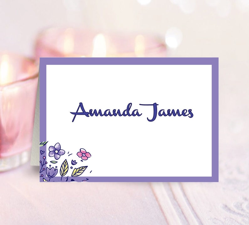 Printable Decorations Shower Decor Floral Printable Place Cards Place Cards P23 Purple DIY Place Cards Table Signs