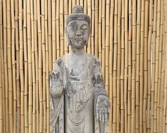 101 cm Standing Garden Buddha Statue Natural Stone Lotus Base Figurine AsiaLifeStyle