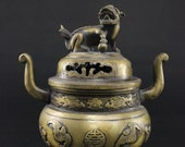 Dragon Incense Vessel from China - Bronze Incense Burner Guardian Lion Asia Lifestyle