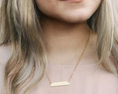 Personalized Necklace - Engraved Bar Necklace - Valentine s Gift - Name Necklace - Coordinates - Best Friend Necklace - NB3670