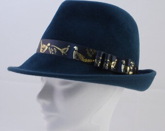 Blue felt fedora hat  347a82a55dde