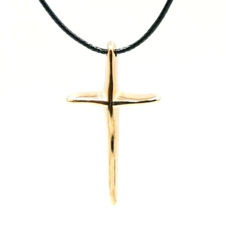 Gold plated cross Necklace pink gold with cord handmade quality jewelry with Zamak element From Greece