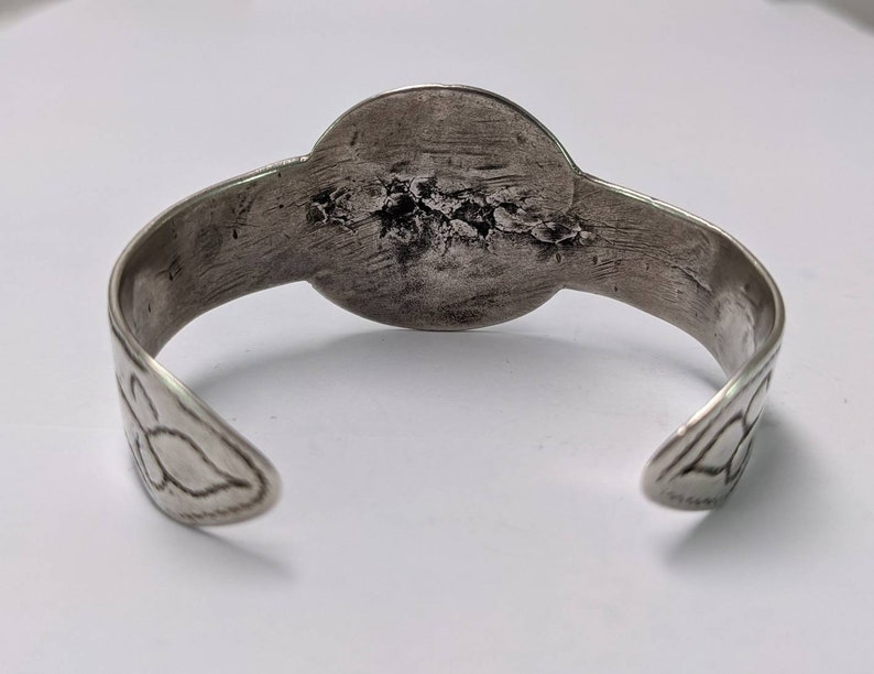 North African Tuareg Tribal Engraved Silver Cuff Bracelet with Cross and Spirals.