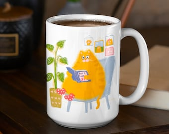 Orange Reading Cat Coffee Mug