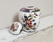 Vintage Japanese IMARI Ginger Jar Vase Urn Lid (6 quot H) White w Dark Red Pink Flowers with Alternating Patterned Panels Band and Mouth