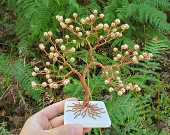 Hematite Copper Wire Tree, Birthday Gift for Man, Office Decor