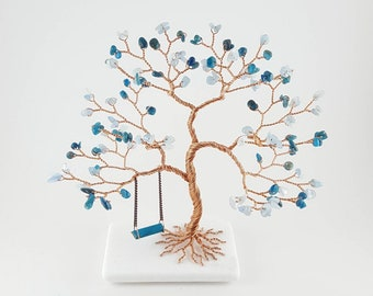 Gemstone Wire Tree with Swing, 19th Anniversary Gift for Her, Birthday Gift