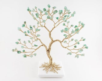Money Tree, Cute Desk Decor, Green Aventurine Gem Tree, Healing Crystal