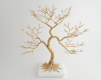 Rose Crystal Tree, Birthday Gift for Woman, Wire Art