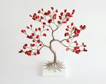 Red Coral Gemstone Tree, Parents Gift for 35th Anniversary