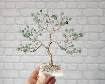 Aventurine Crystal Tree, Good Luck Charm, Housewarming Gift, Wire Gemstone Tree of Life