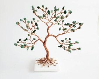 Green Jade Tree, 35th & 12th Anniversary Gift, Copper Wire Sculpture