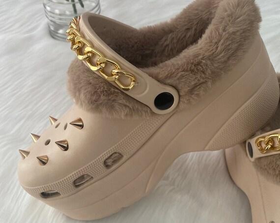 Platform Clogs with Fur //Fur Slip Ons- Croc Like