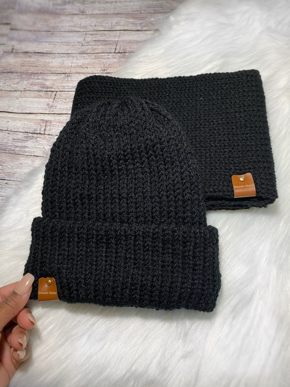 Knit Double Brim Hat and Infinity Scarf Set // Beanie and Scarf
