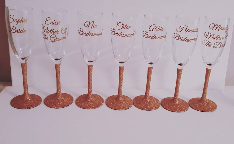 Personalised Vinyl Hen Party Glass Stickers Champagne Flute or Long Shot Glass